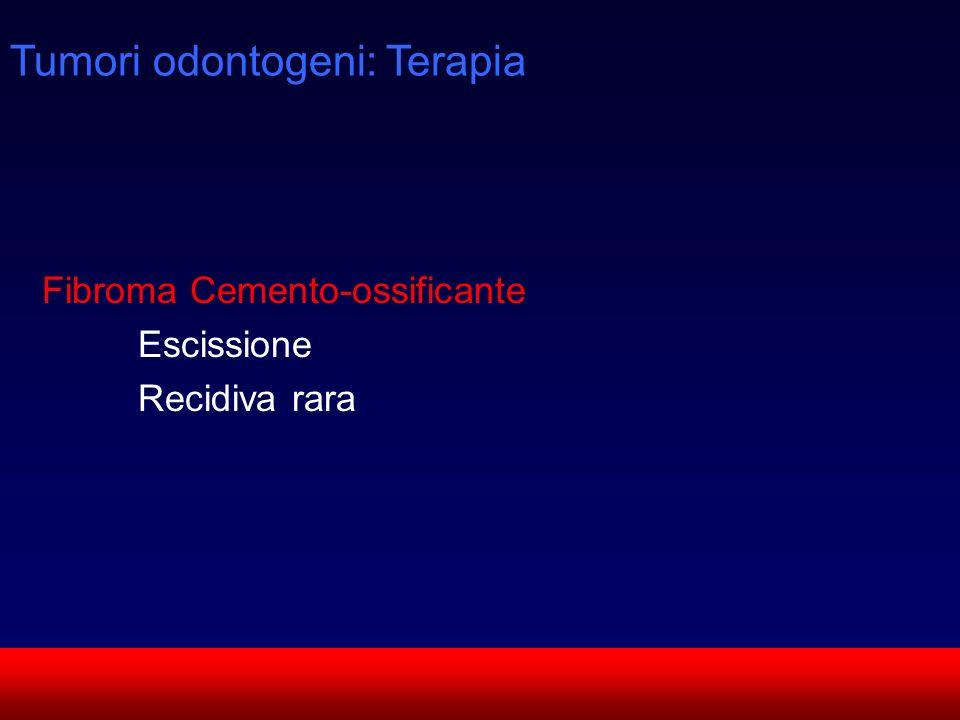 SUN CMF Fibroma Cemento-ossificante Escissione Recidiva rara Tumori odontogeni: Terapia