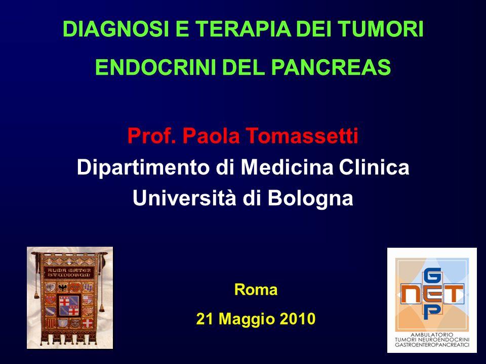 Prof. Paola Tomassetti Dipartimento di Medicina Clinica Università di Bologna Roma 21 Maggio 2010 DIAGNOSI E TERAPIA DEI TUMORI ENDOCRINI DEL PANCREAS