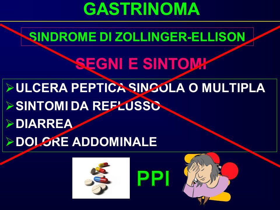GASTRINOMA ULCERA PEPTICA SINGOLA O MULTIPLA SINTOMI DA REFLUSSO DIARREA DOLORE ADDOMINALE SEGNI E SINTOMI SINDROME DI ZOLLINGER-ELLISON