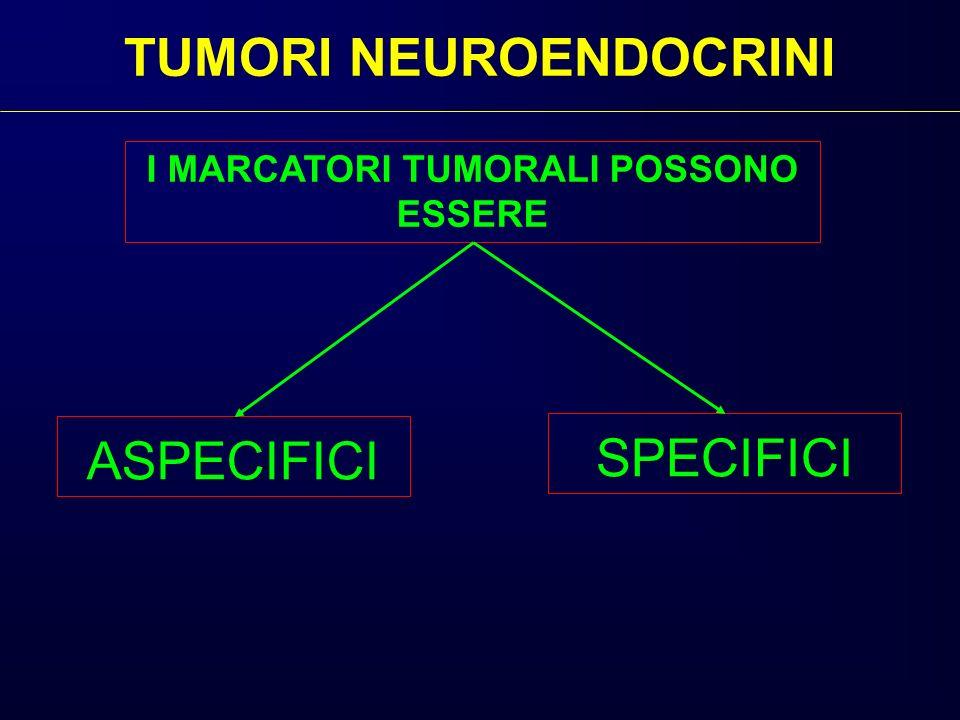 TUMORI NEUROENDOCRINI ASPECIFICI SPECIFICI I MARCATORI TUMORALI POSSONO ESSERE