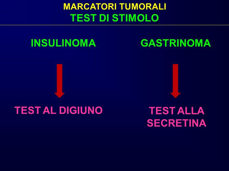 INSULINOMA GASTRINOMA MARCATORI TUMORALI TEST DI STIMOLO TEST AL DIGIUNO TEST ALLA SECRETINA