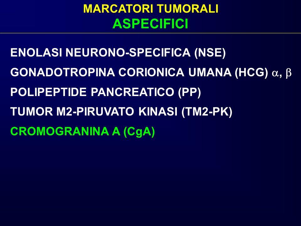 MARCATORI TUMORALI ASPECIFICI ENOLASI NEURONO-SPECIFICA (NSE) GONADOTROPINA CORIONICA UMANA (HCG), POLIPEPTIDE PANCREATICO (PP) TUMOR M2-PIRUVATO KINA