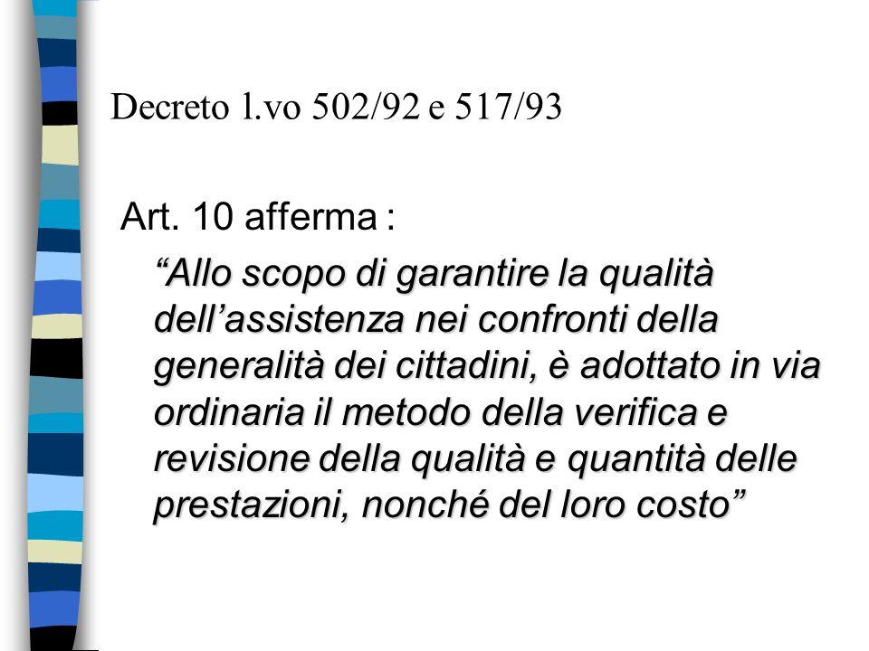 Decreto l.vo 502/92 e 517/93 Art. 10 afferma : Allo scopo di garantire la qualità dellassistenza nei confronti della generalità dei cittadini, è adott