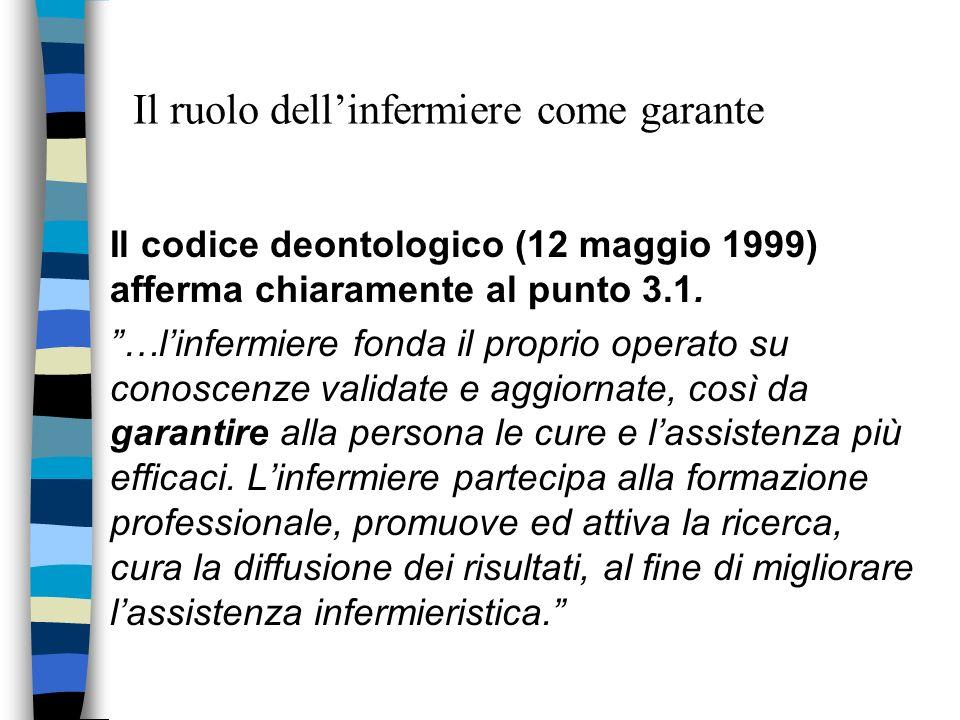 Il ruolo dellinfermiere come garante Il codice deontologico (12 maggio 1999) afferma chiaramente al punto 3.1. …linfermiere fonda il proprio operato s