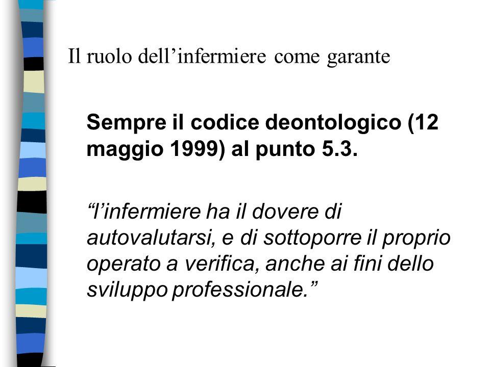 Il ruolo dellinfermiere come garante Sempre il codice deontologico (12 maggio 1999) al punto 5.3. linfermiere ha il dovere di autovalutarsi, e di sott