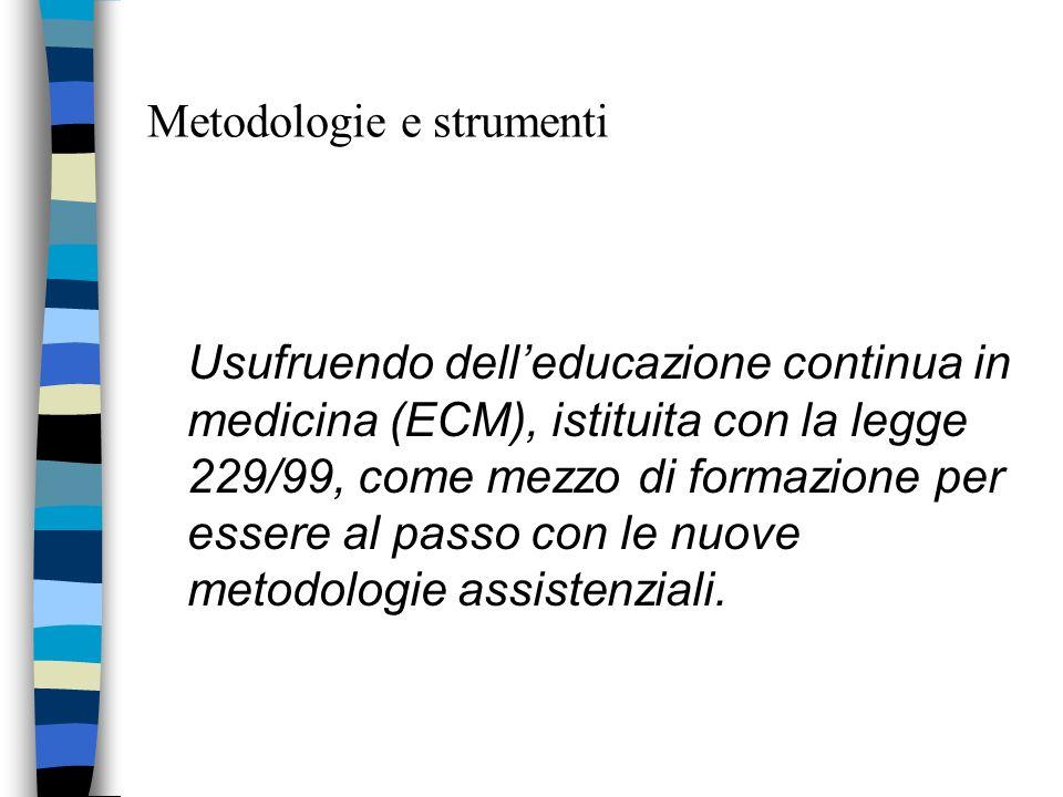 Metodologie e strumenti Usufruendo delleducazione continua in medicina (ECM), istituita con la legge 229/99, come mezzo di formazione per essere al pa