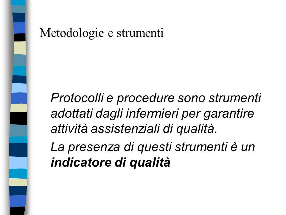 Metodologie e strumenti Protocolli e procedure sono strumenti adottati dagli infermieri per garantire attività assistenziali di qualità. La presenza d