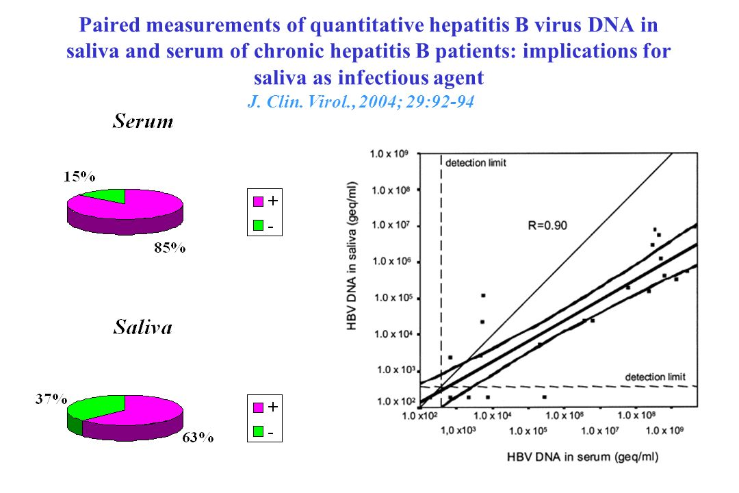 Paired measurements of quantitative hepatitis B virus DNA in saliva and serum of chronic hepatitis B patients: implications for saliva as infectious agent J.