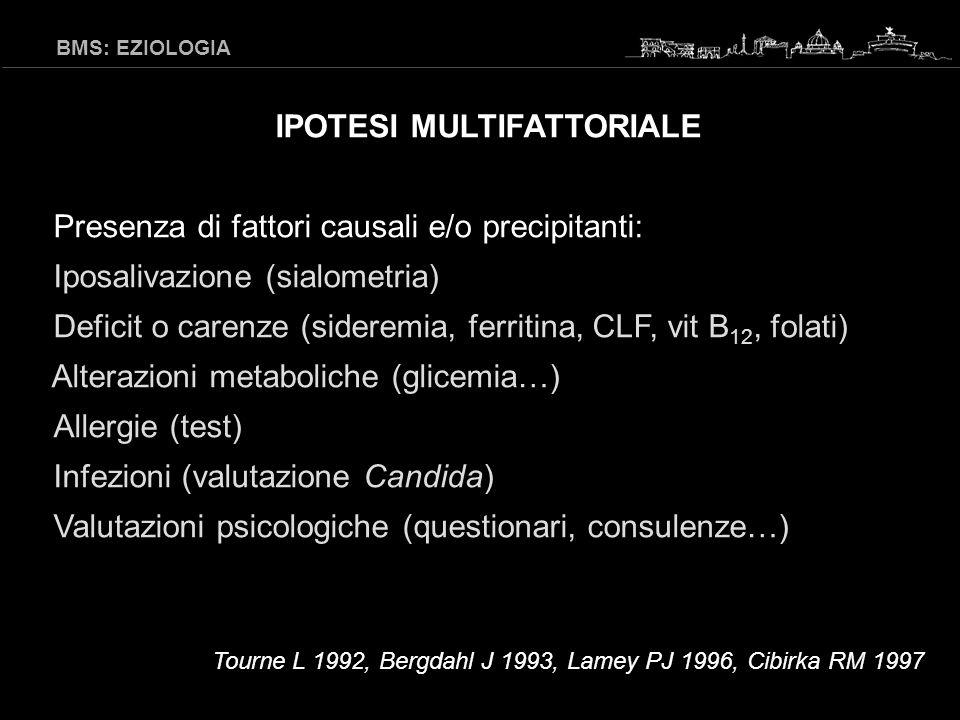 BMS: EZIOLOGIA Attualmente, non esistono evidenze che i fattori usualmente descritti svolgano un ruolo eziologico.