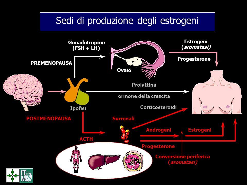 POSTMENOPAUSA PREMENOPAUSA Gonadotropine (FSH + LH) ACTH Surrenali Ipofisi Prolattina ormone della crescita Estrogeni (aromatasi) Corticosteroidi Prog