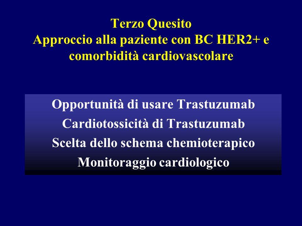 Terzo Quesito Approccio alla paziente con BC HER2+ e comorbidità cardiovascolare Opportunità di usare Trastuzumab Cardiotossicità di Trastuzumab Scelt