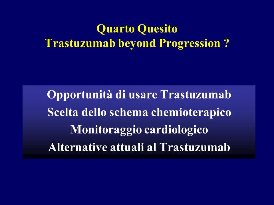 Quarto Quesito Trastuzumab beyond Progression ? Opportunità di usare Trastuzumab Scelta dello schema chemioterapico Monitoraggio cardiologico Alternat