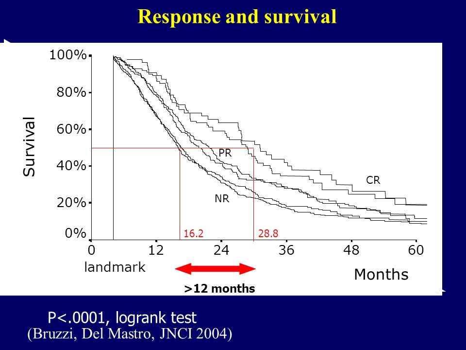 NR Months 60483624120 Survival 100% 80% 60% 40% 20% 0% NR PR CR 4 landmark P<.0001, logrank test >12 months 16.228.8 Response and survival (Bruzzi, De