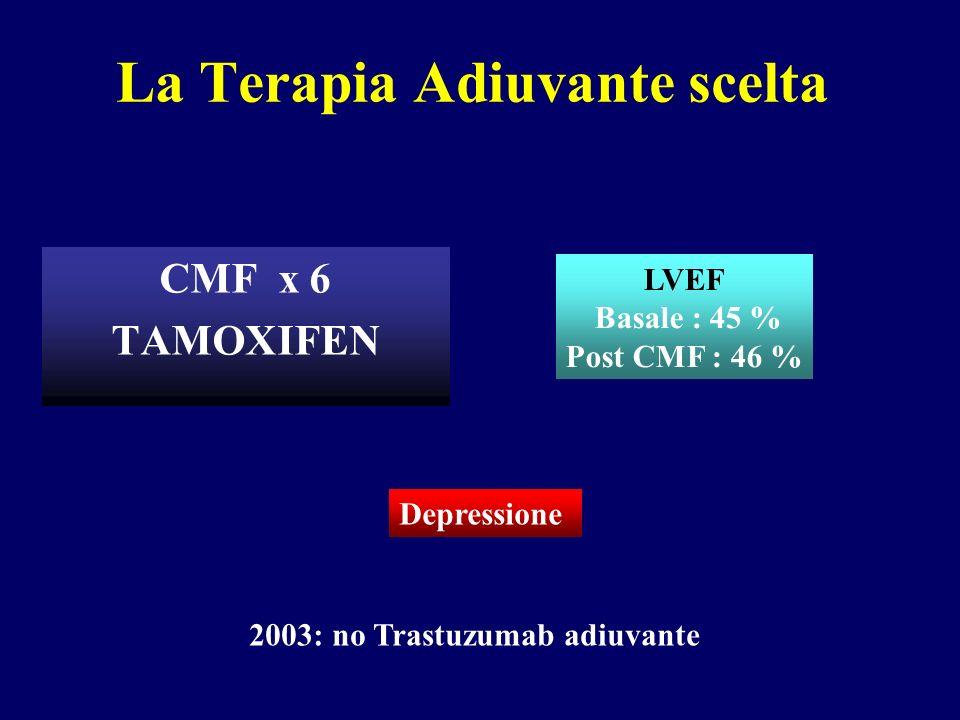 Aprile 2007: Intervallo libero 4 anni Linfonodi sopraclaveari dx Astenia G2 Anoressia G2 Febbricola serotina Metastasi epatiche PS 2 LVEF 40 % Biopsia Linfonodo FISH pos ER 70% PgR Neg