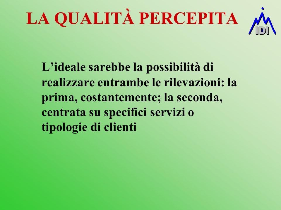 LA QUALITÀ PERCEPITA Lideale sarebbe la possibilità di realizzare entrambe le rilevazioni: la prima, costantemente; la seconda, centrata su specifici