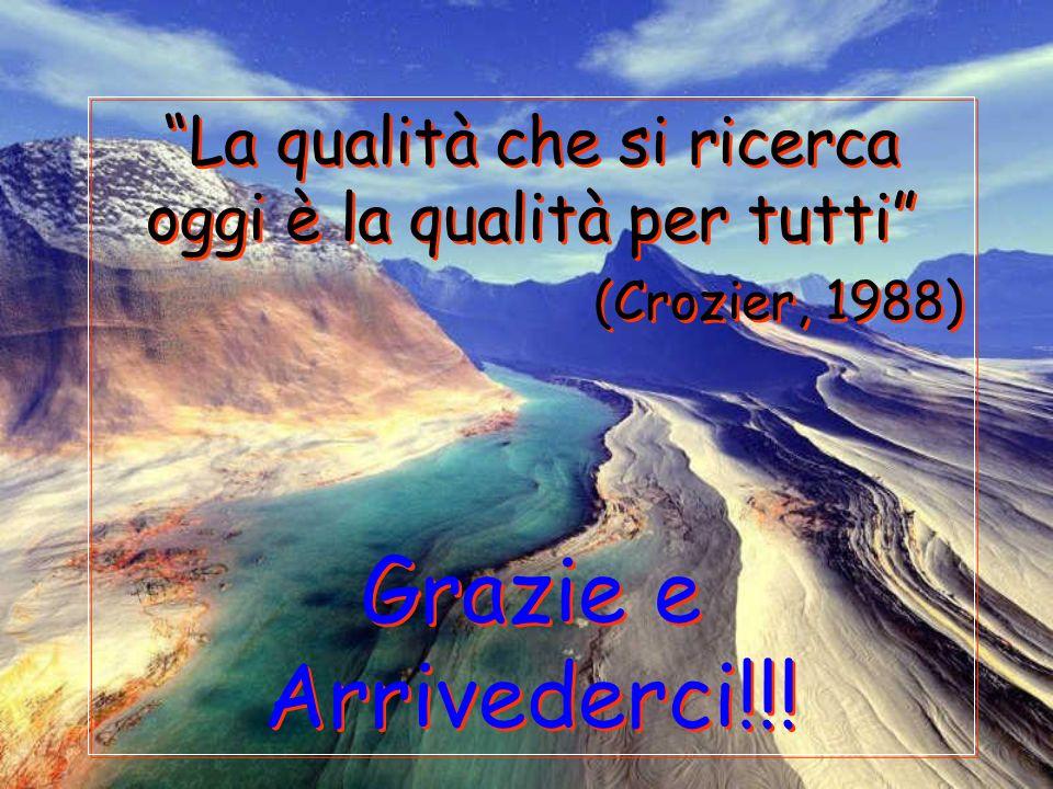 La qualità che si ricerca oggi è la qualità per tutti (Crozier, 1988) Grazie e Arrivederci!!! La qualità che si ricerca oggi è la qualità per tutti (C