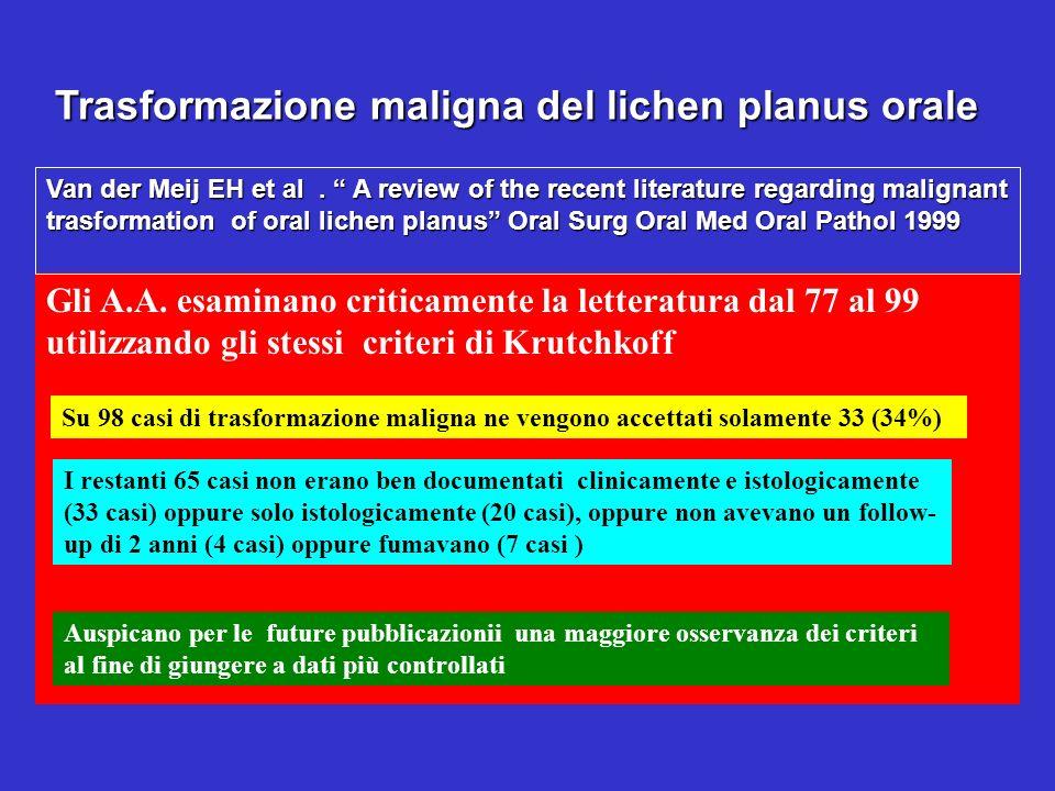 Trasformazione maligna del lichen planus orale Gli A.A. esaminano criticamente la letteratura dal 77 al 99 utilizzando gli stessi criteri di Krutchkof