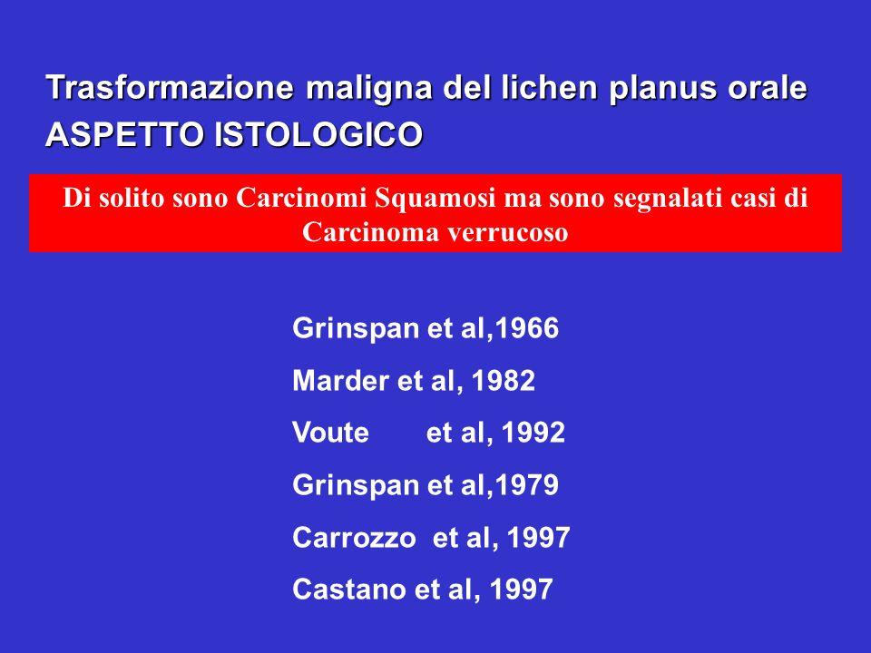 Trasformazione maligna del lichen planus orale Di solito sono Carcinomi Squamosi ma sono segnalati casi di Carcinoma verrucoso ASPETTO ISTOLOGICO Grin
