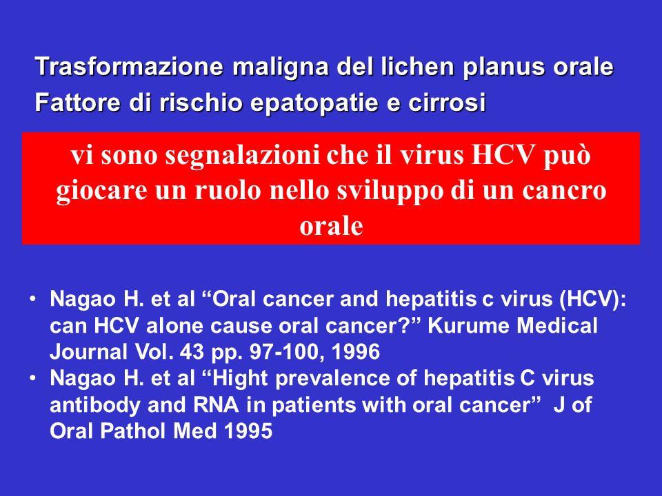 Trasformazione maligna del lichen planus orale vi sono segnalazioni che il virus HCV può giocare un ruolo nello sviluppo di un cancro orale Fattore di