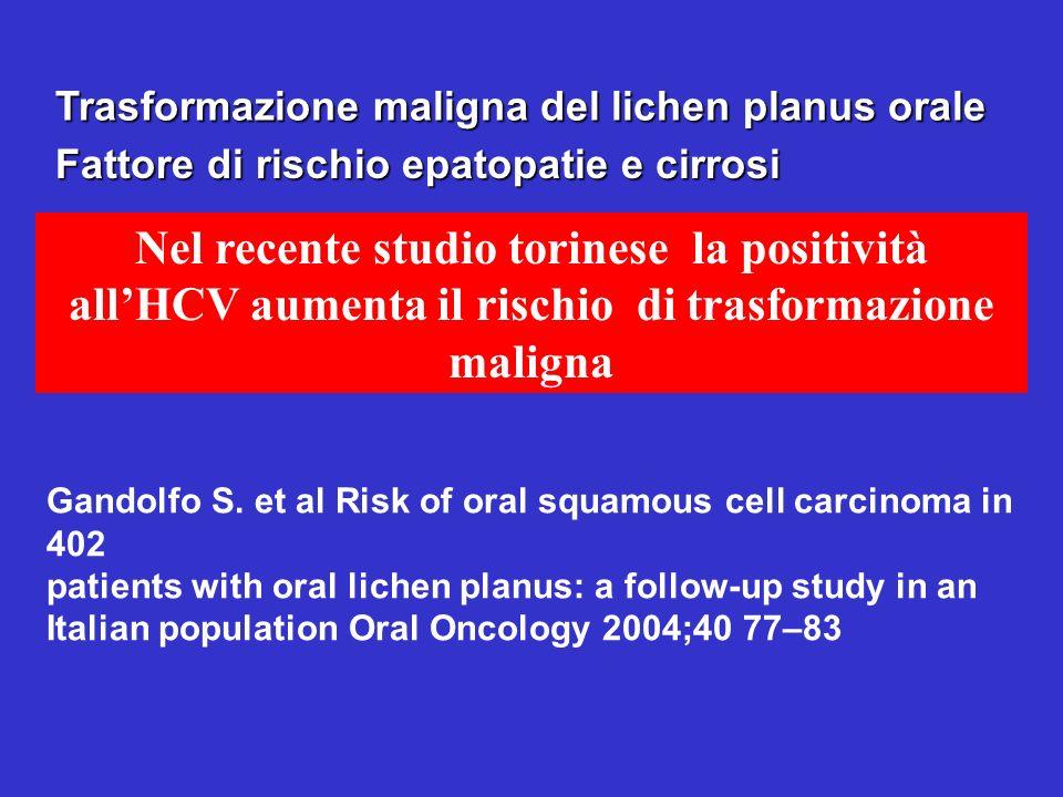 Trasformazione maligna del lichen planus orale Nel recente studio torinese la positività allHCV aumenta il rischio di trasformazione maligna Fattore d