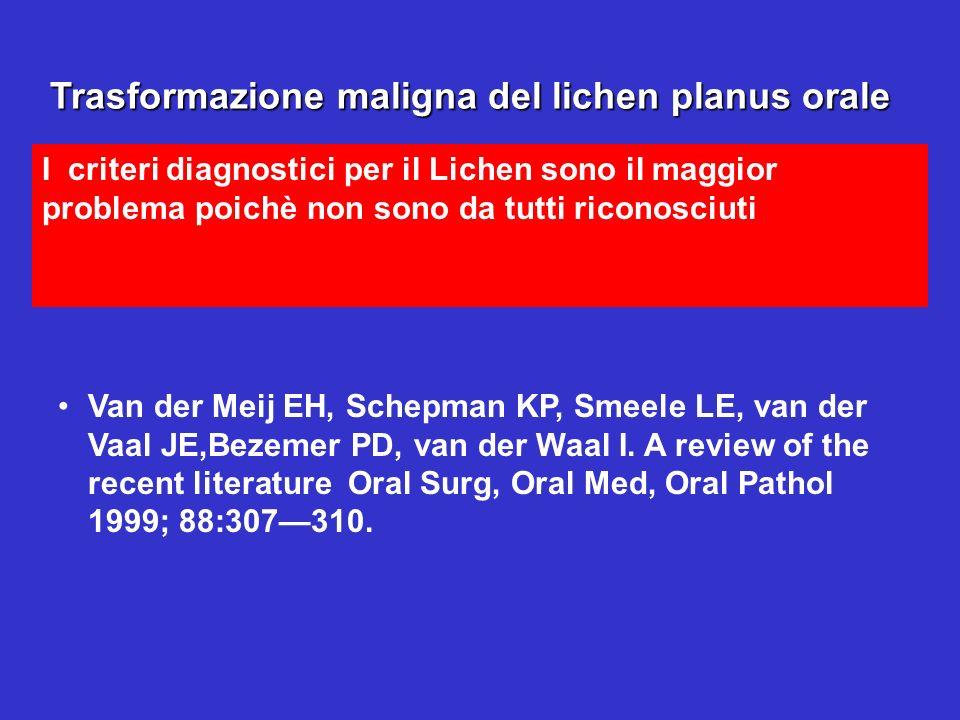 Trasformazione maligna del lichen planus orale I criteri diagnostici per il Lichen sono il maggior problema poichè non sono da tutti riconosciuti Tras