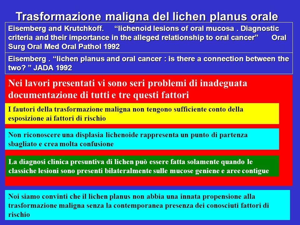 Trasformazione maligna del lichen planus orale Nei lavori presentati vi sono seri problemi di inadeguata documentazione di tutti e tre questi fattori