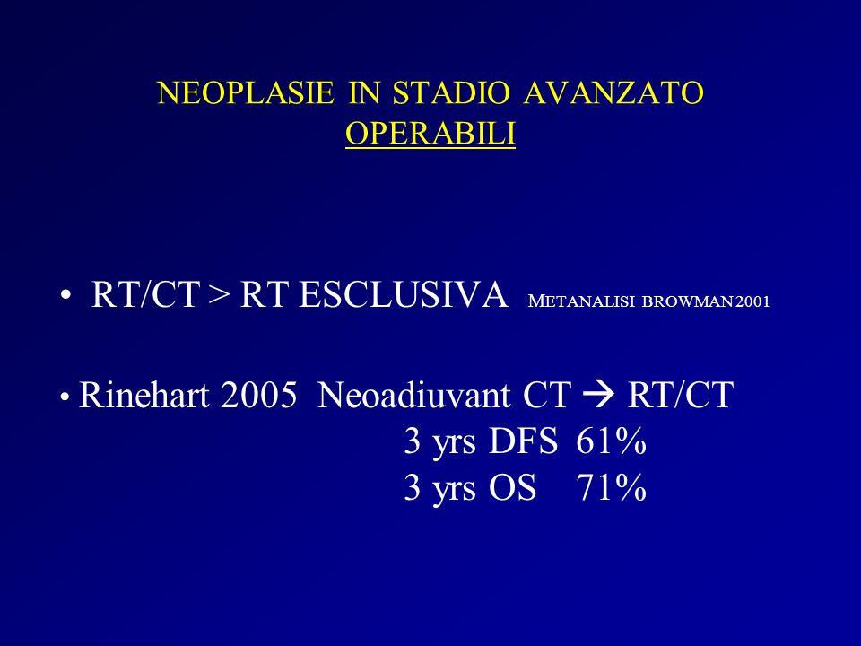 NEOPLASIE IN STADIO AVANZATO OPERABILI RT/CT > RT ESCLUSIVA M ETANALISI BROWMAN 2001 Rinehart 2005 Neoadiuvant CT RT/CT 3 yrs DFS61% 3 yrs OS71%