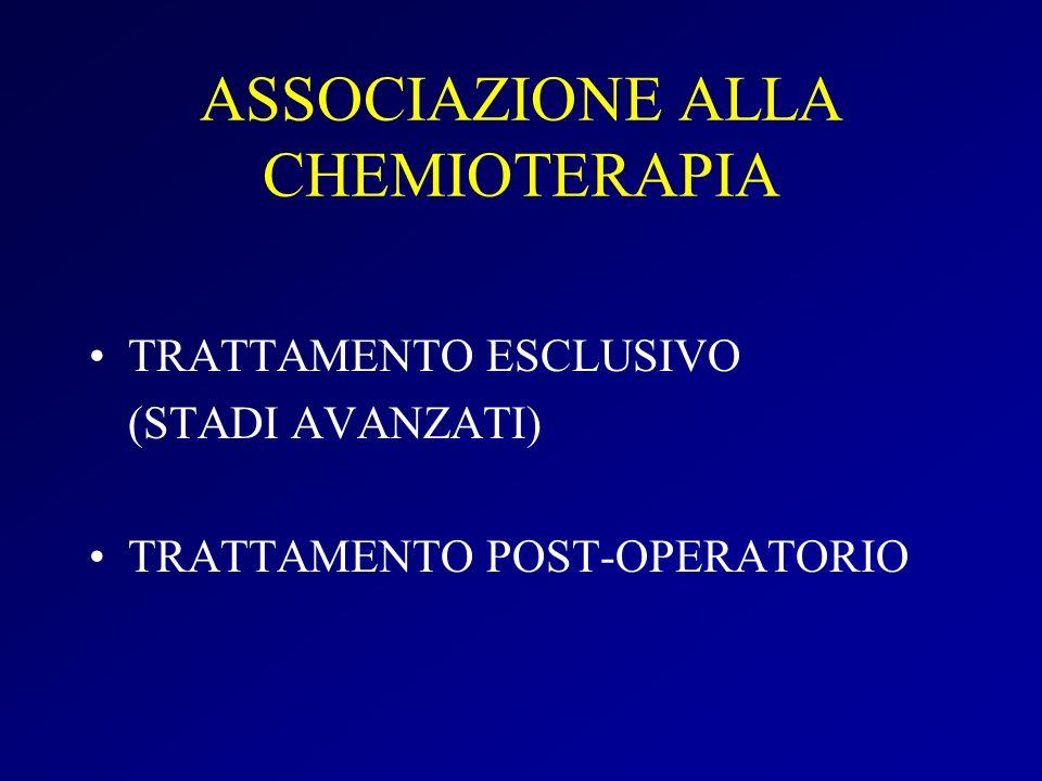 ASSOCIAZIONE ALLA CHEMIOTERAPIA TRATTAMENTO ESCLUSIVO (STADI AVANZATI) TRATTAMENTO POST-OPERATORIO