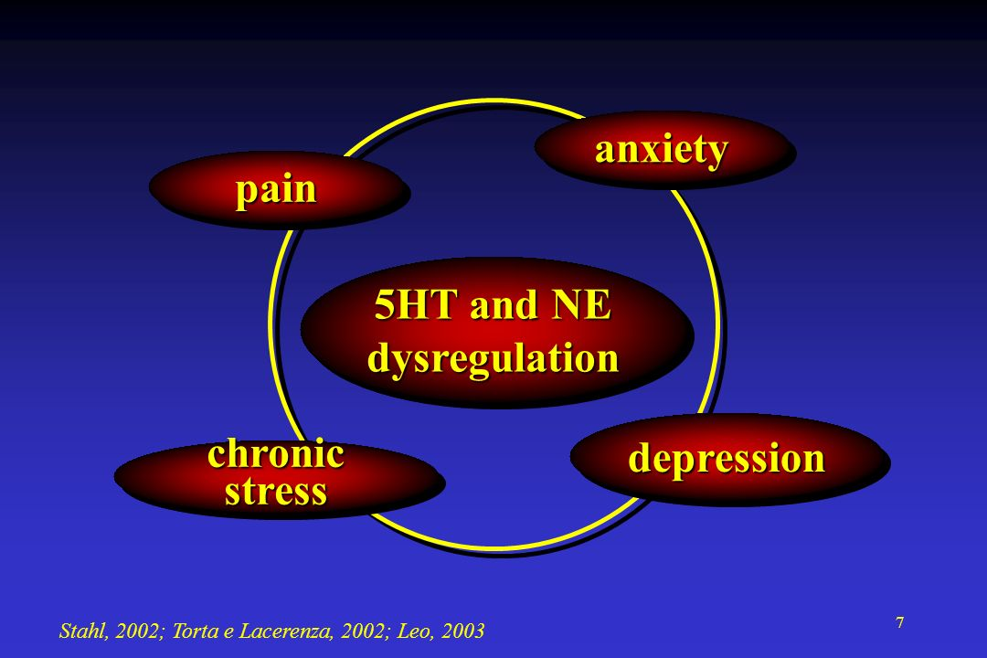 7 depressiondepression 5HT and NE dysregulation dysregulation anxietyanxiety painpain chronic stress Stahl, 2002; Torta e Lacerenza, 2002; Leo, 2003