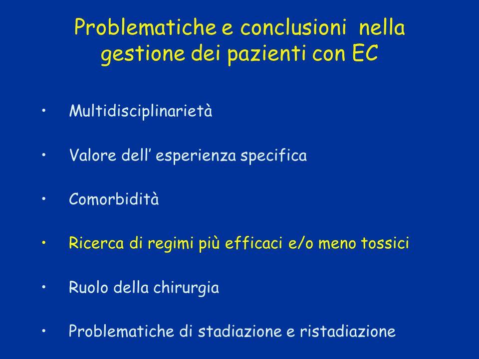 Problematiche e conclusioni nella gestione dei pazienti con EC Multidisciplinarietà Valore dell esperienza specifica Comorbidità Ricerca di regimi più