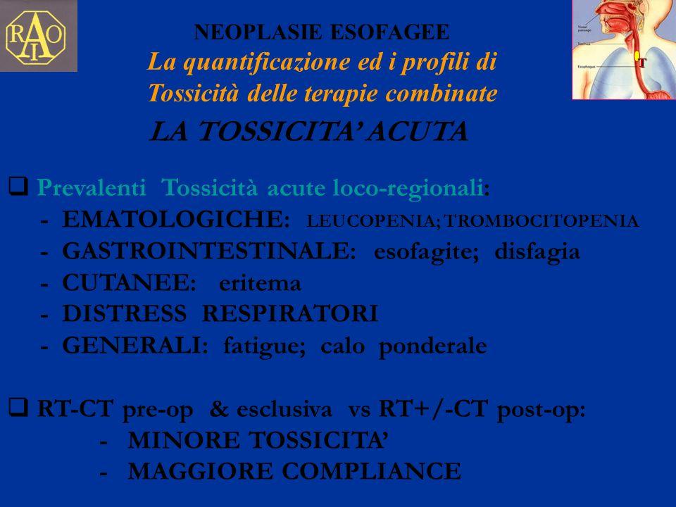 T NEOPLASIE ESOFAGEE La quantificazione ed i profili di Tossicità delle terapie combinate Prevalenti Tossicità acute loco-regionali: - EMATOLOGICHE: L