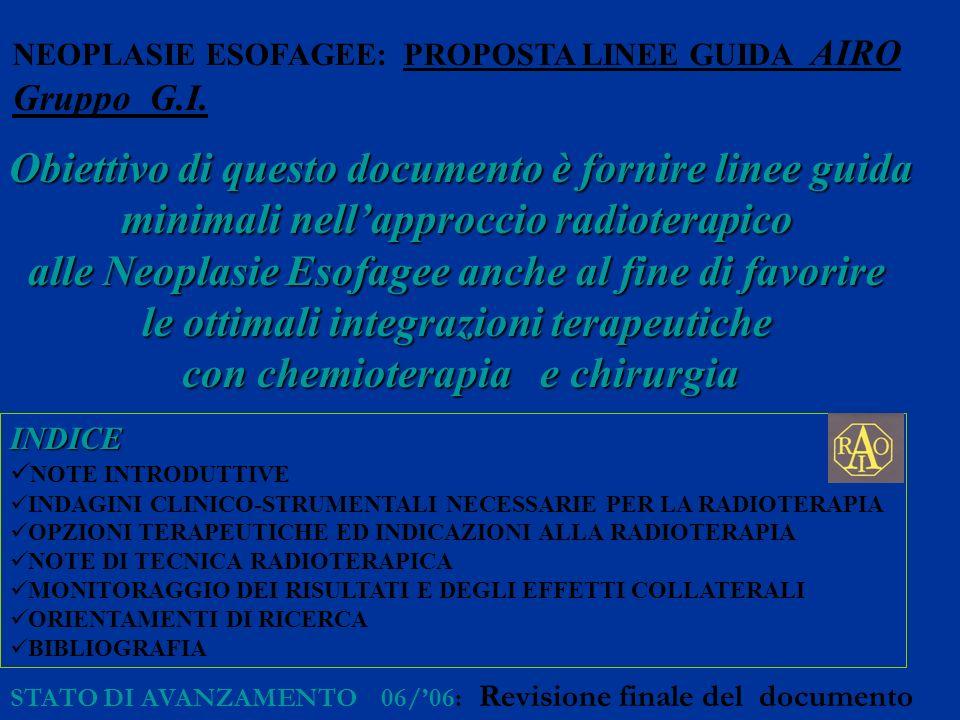 NEOPLASIE ESOFAGEE: PROPOSTA LINEE GUIDA AIRO Gruppo G.I. Obiettivo di questo documento è fornire linee guida minimali nellapproccio radioterapico all