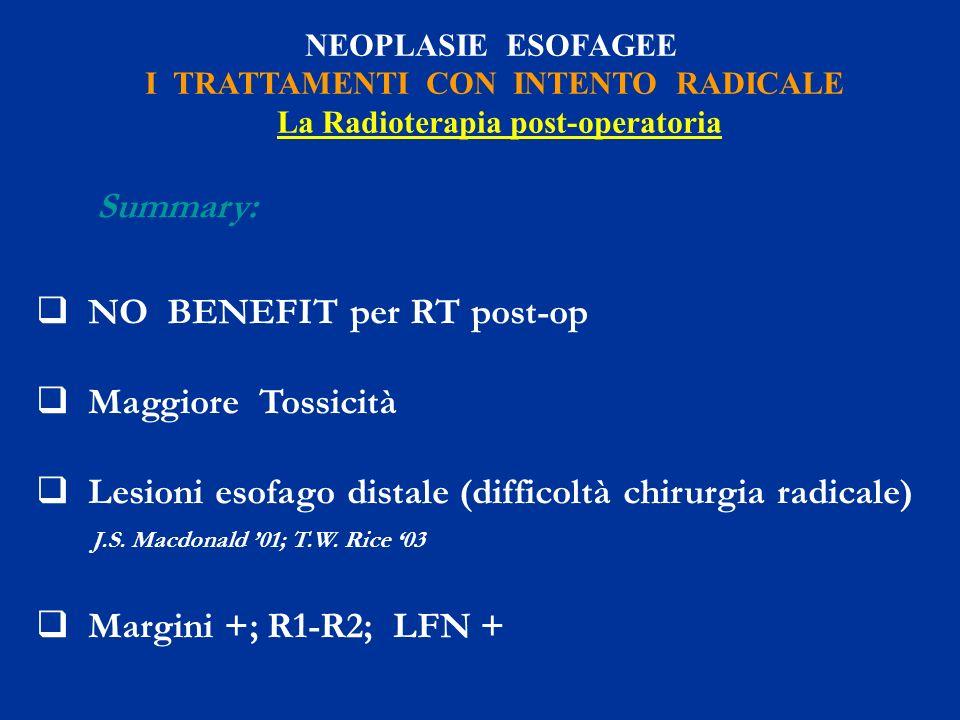 NEOPLASIE ESOFAGEE I TRATTAMENTI CON INTENTO RADICALE La Radioterapia post-operatoria Summary: NO BENEFIT per RT post-op Maggiore Tossicità Lesioni es