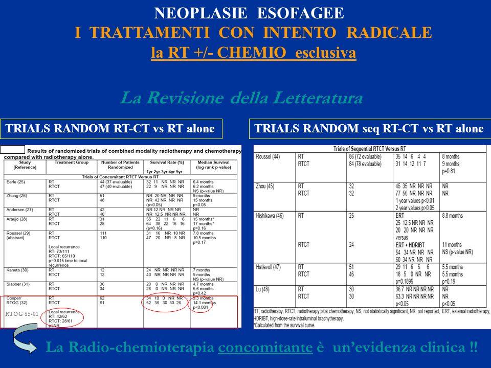 TRIALS RANDOM RT-CT vs RT aloneTRIALS RANDOM seq RT-CT vs RT alone La Revisione della Letteratura NEOPLASIE ESOFAGEE I TRATTAMENTI CON INTENTO RADICAL