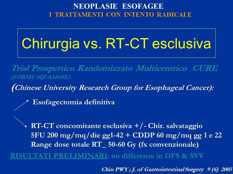 NEOPLASIE ESOFAGEE I TRATTAMENTI CON INTENTO RADICALE Chirurgia vs. RT-CT esclusiva Trial Prospettico Randomizzato Multicentrico CURE (FORME SQUAMOSE)