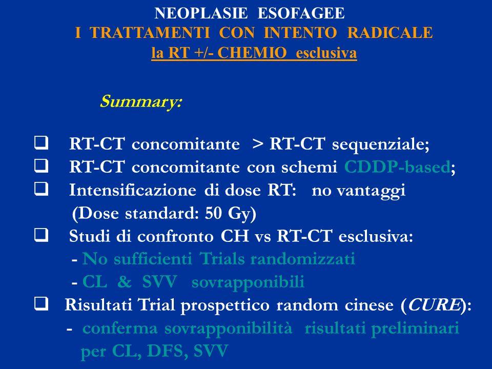 NEOPLASIE ESOFAGEE I TRATTAMENTI CON INTENTO RADICALE la RT +/- CHEMIO esclusiva Summary: RT-CT concomitante > RT-CT sequenziale; RT-CT concomitante c
