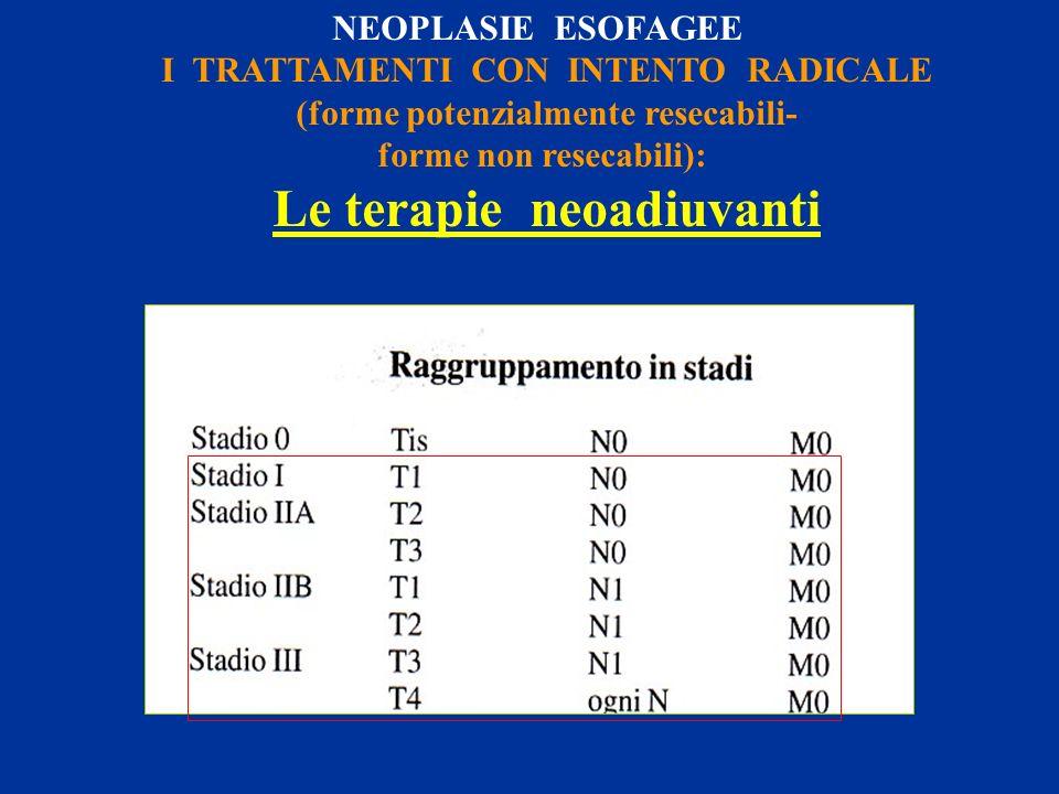NEOPLASIE ESOFAGEE I TRATTAMENTI CON INTENTO RADICALE (forme potenzialmente resecabili- forme non resecabili): Le terapie neoadiuvanti