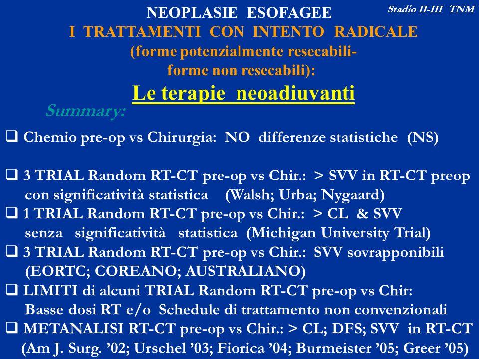 NEOPLASIE ESOFAGEE I TRATTAMENTI CON INTENTO RADICALE (forme potenzialmente resecabili- forme non resecabili): Le terapie neoadiuvanti Summary: Chemio