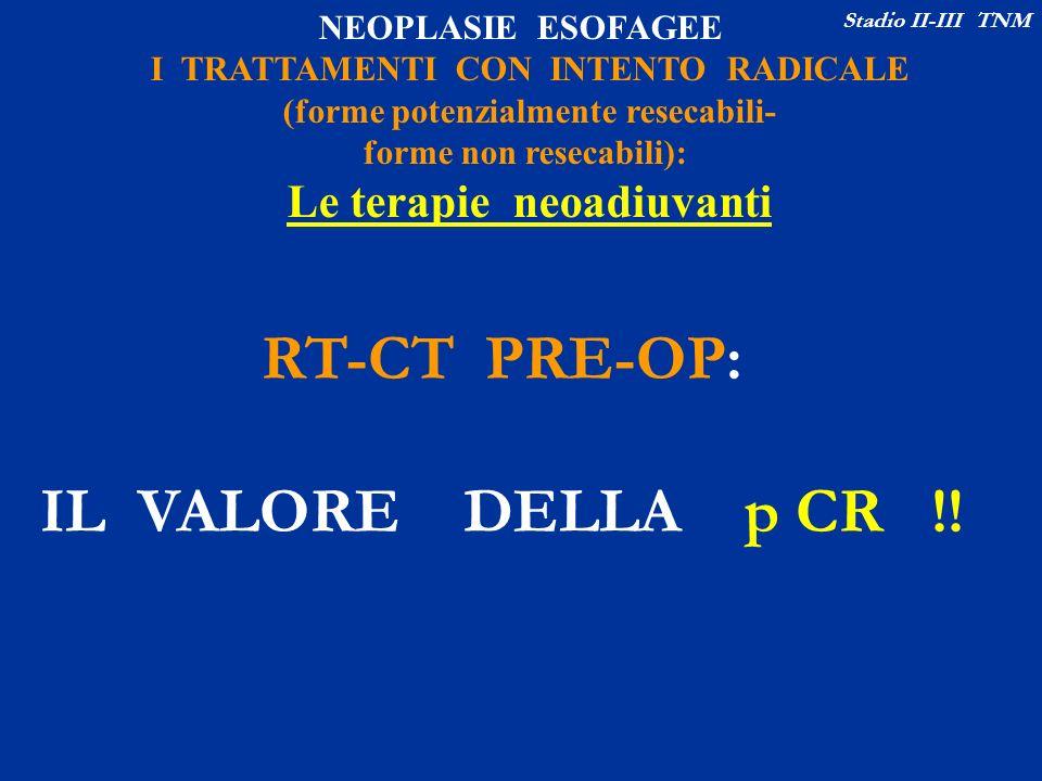 NEOPLASIE ESOFAGEE I TRATTAMENTI CON INTENTO RADICALE (forme potenzialmente resecabili- forme non resecabili): Le terapie neoadiuvanti Stadio II-III T