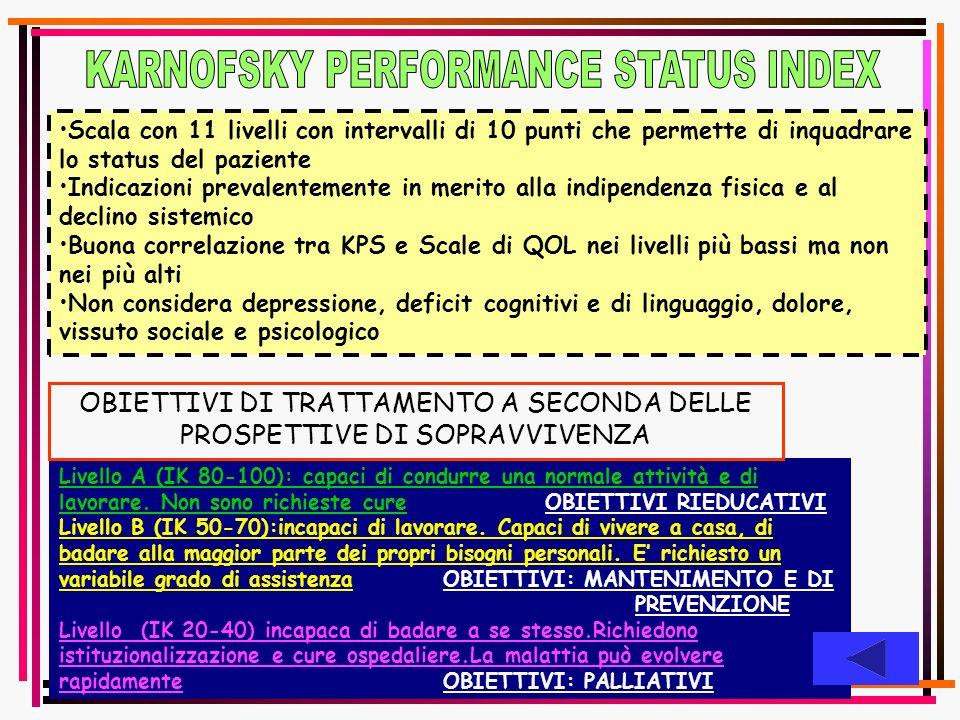 Livello A (IK 80-100): capaci di condurre una normale attività e di lavorare. Non sono richieste cure OBIETTIVI RIEDUCATIVI Livello B (IK 50-70):incap
