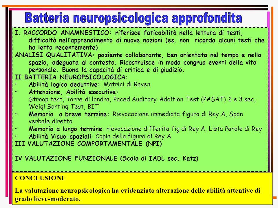 I. RACCORDO ANAMNESTICO: riferisce faticabilità nella lettura di testi, difficoltà nellapprendimento di nuove nozioni (es. non ricorda alcuni testi ch