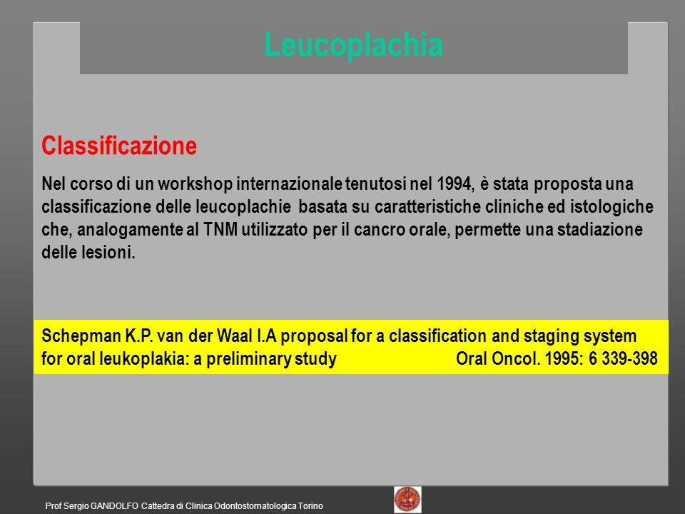 L= estensione della leucoplachia L0= nessuna Lx= non specificata L1= minore o uguale a 2 cm L2= 2-4 cm L3= uguale o maggiore di 4 cm C= aspetto clinico Cx= non specificato C1= omogeneo C2=non omogeneo S= sede Sx= non specificata S1= tutte meno pavimento e/o lingua S2= pavimento e/o lingua P= caratteri istopatologici Px= non specificato P1= assenza di displasia P2= displasia lieve P3= displasia media P4= displasia grave Shepman K.P.