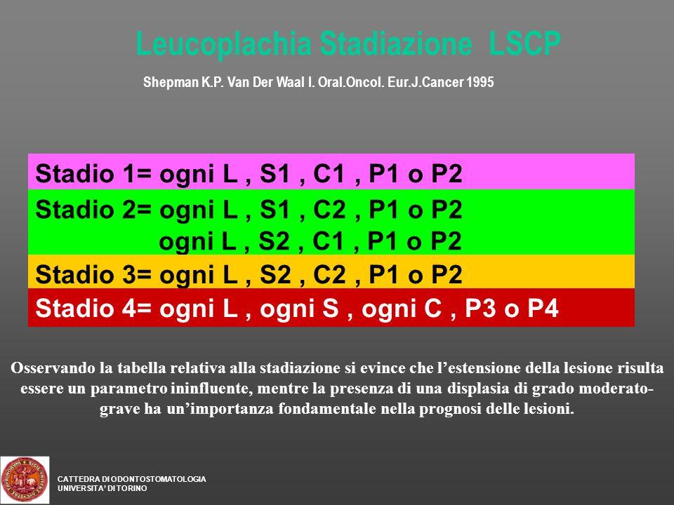 Stadio 1= ogni L, S1, C1, P1 o P2 Stadio 2= ogni L, S1, C2, P1 o P2 ogni L, S2, C1, P1 o P2 Stadio 3= ogni L, S2, C2, P1 o P2 Stadio 4= ogni L, ogni S