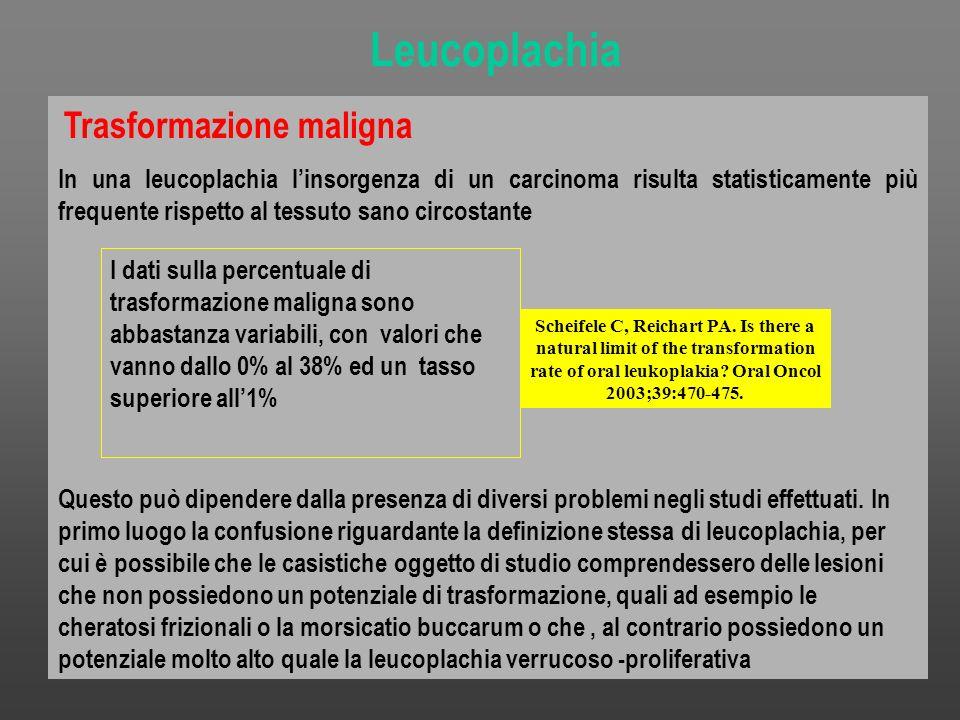 Trasformazione maligna In una leucoplachia linsorgenza di un carcinoma risulta statisticamente più frequente rispetto al tessuto sano circostante Ques