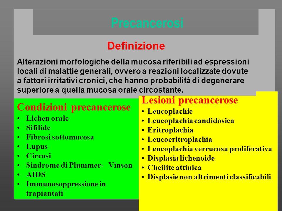 Prof Sergio GANDOLFO Cattedra di Clinica Odontostomatologica Torino Condizione precancerosa Nella Condizione precancerosa è tutta la mucosa orale che è a rischio di trasformazione maligna ed è quindi il portatore rispetto al non portatore che è significativamente a rischo