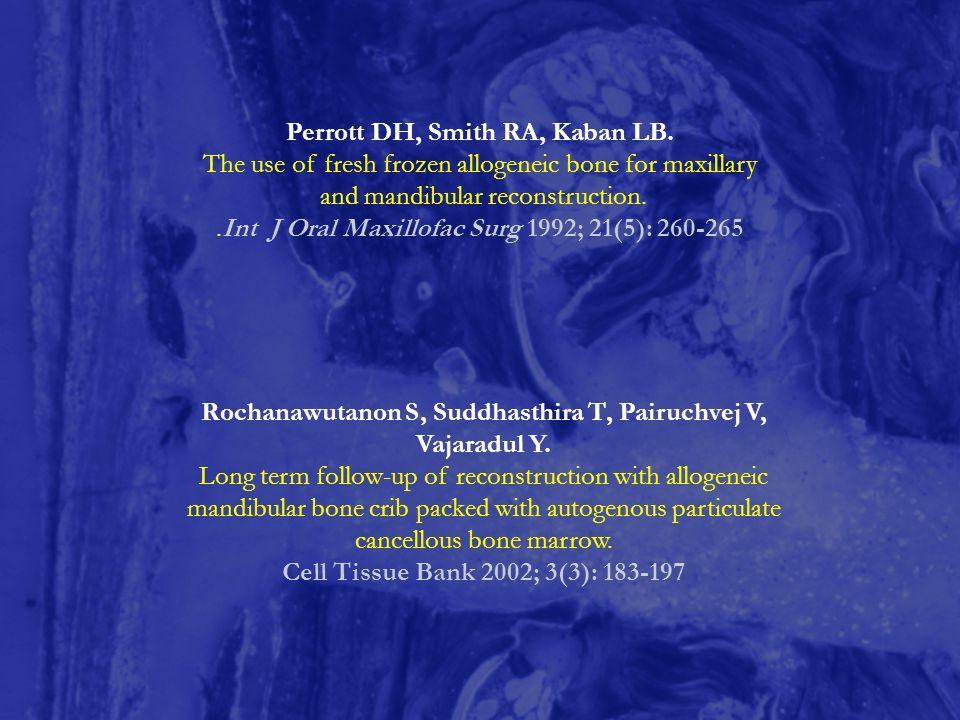 Rochanawutanon S, Suddhasthira T, Pairuchvej V, Vajaradul Y. Long term follow-up of reconstruction with allogeneic mandibular bone crib packed with au