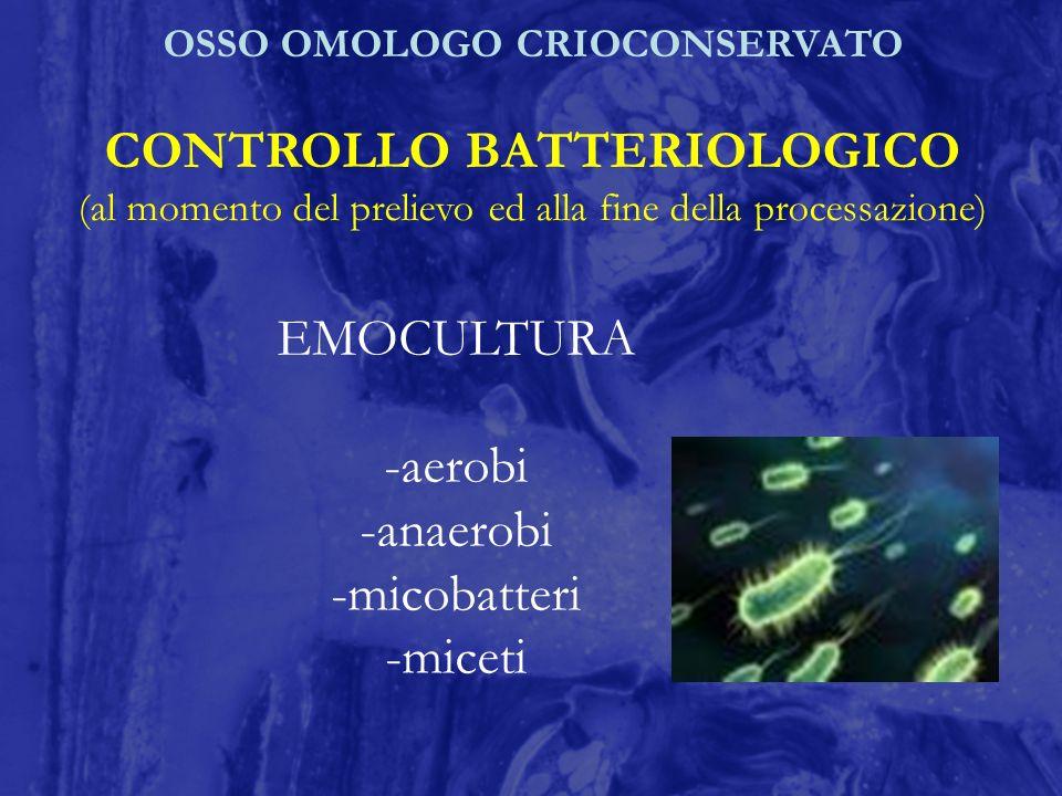 OSSO OMOLOGO CRIOCONSERVATO CONTROLLO BATTERIOLOGICO (al momento del prelievo ed alla fine della processazione) EMOCULTURA -aerobi -anaerobi -micobatt