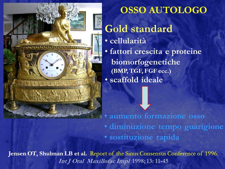 OSSO AUTOLOGO Gold standard cellularità fattori crescita e proteine biomorfogenetiche (BMP, TGF, FGF ecc.) scaffold ideale aumento formazione osso dim