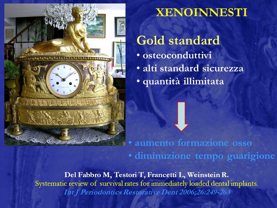 XENOINNESTI Gold standard osteoconduttivi alti standard sicurezza quantità illimitata aumento formazione osso diminuzione tempo guarigione Del Fabbro