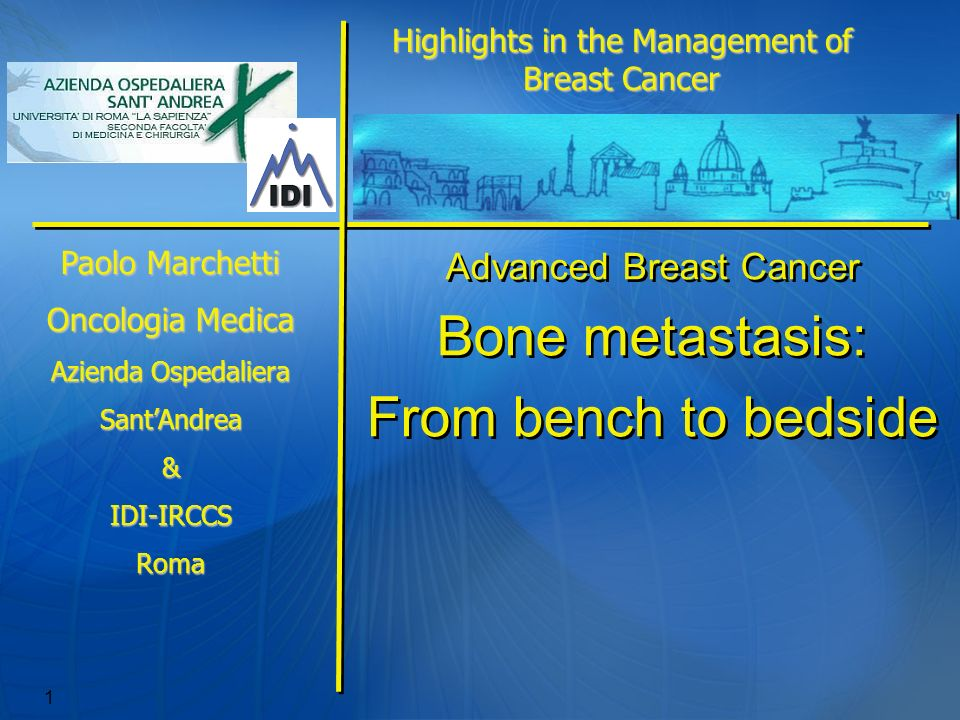 1 Advanced Breast Cancer Bone metastasis: From bench to bedside Advanced Breast Cancer Bone metastasis: From bench to bedside Highlights in the Manage